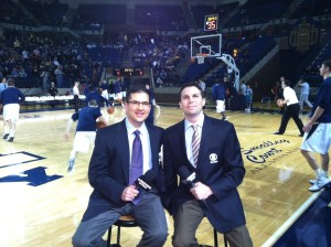 Bob (left) with partner Chris Spatola before a Feb. 2013 telecast of Army-Navy basketball for the CBS Sports Network.